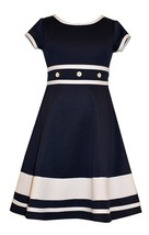 Bonnie Jean Little Girl 2T-6X Blue/White Buttons Bands Fit Flare Nautical Dress