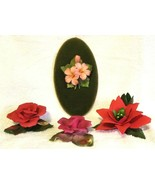 4 Capodimonte Porcelain Figurines Italy Poinsettia Candle Holder Red Ros... - $95.00
