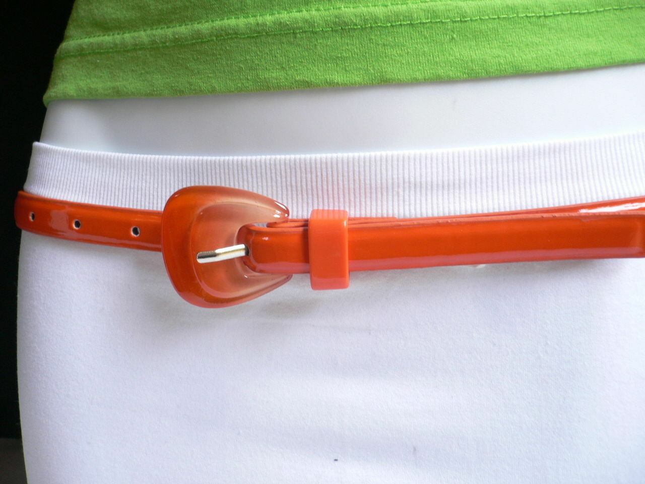 Neu Damen Mode Gürtel Trendy Skinny Hell Orange Kunstleder Schnalle S M image 5