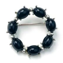 Vintage Silver Tone Black Cabochon Circle Wreath Brooch Pin - $12.86