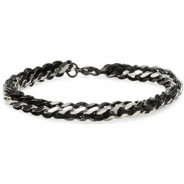 "Ed Jacobs Men's Woven Black Silver Stainless Steel Metal Link 8"" Bracelet NWT"