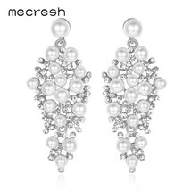 Mecresh Statement Silver Color Simulated Pearl Women Drop Earrings Fashi... - $16.86