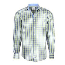 Men's Checkered Plaid Dress Shirt - Green, X-Large (17-17.5) Neck 34/35 Sleeve