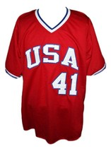 Marc McGwire #41 Team USA Retro Baseball New Jersey Red Any Size image 3