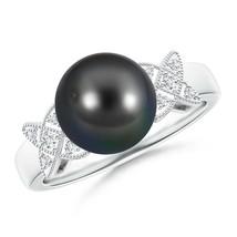 Vintage Style Cultured Tahitian Black Pearl Diamond Ring with Milgrain - $332.22+