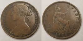1873 Great Britain One Penny World Coin - UK - England - Victoria - $49.99