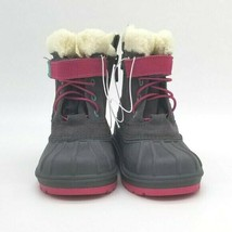 Toddler Girls Cat & Jack Valmai Grey Leather Magenta Thermolite Winter Boots NEW image 2