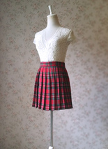 RED Pleated PLAID SKIRT Campus Style Red Plaid Pleat Skirt Red Check Mini Skirt image 7