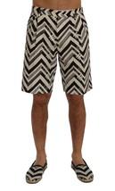 New $610 Dolce & Gabbana Men White Black Striped Cotton Linen Shorts It48-M - $199.96