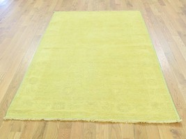 4'x6' Hand Knotted Yellow Cast Peshawar Overdyed Pure Wool Oriental Rug ... - $505.89