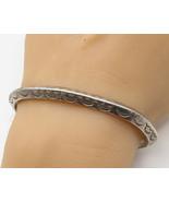 925 Sterling Silver - Vintage Retro Etching Detail Cuff Bracelet - B2526 - $82.07