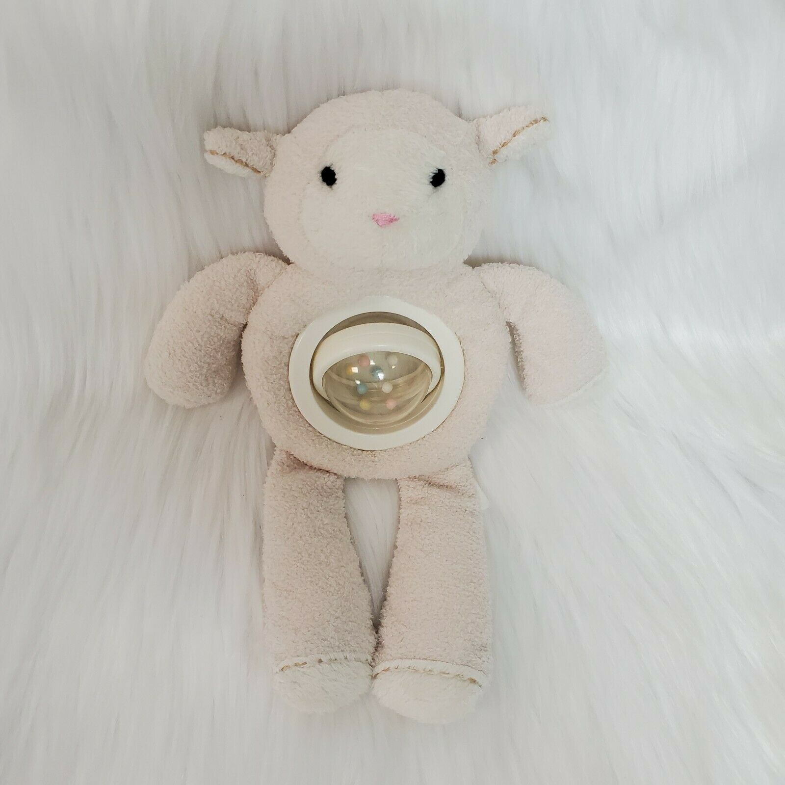 "Primary image for 10"" Pottery Barn Kids Lamb Cream Baby Lovey Spinning Belly Rattle Plush Toy B350"