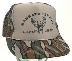 Mankato KS Texaco Hat-10 Point Deer-Camo-Snapback-Rope Bill-Cap-Vtg - $15.79