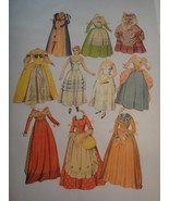 Vintage 2 Paper Dolls  & Assorted Edwardian Era Costumes Clothing All Cut - $9.90