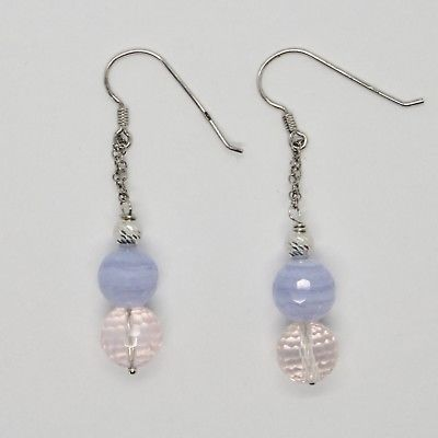 EARRINGS SILVER 925 RHODIUM HANGING PINK QUARTZ FACETED AND CHALCEDONY