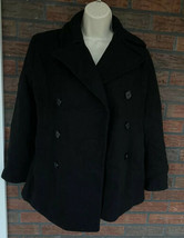 Black Wool Coat Small Peacoat Double Breasted Pockets Collar Lined Belt ... - $19.60