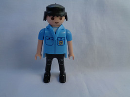 1997 Playmobil Policeman Blue Uniform Male Replacement Figure - Black Hair - $1.96