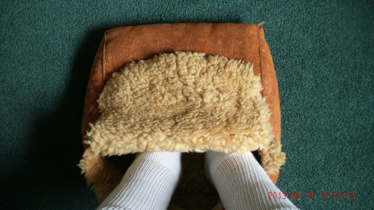 "Vintage Genuine Sheep Skin Hide FOOT WARMER POUCH approx Size 12"" x 12"" x 5"""