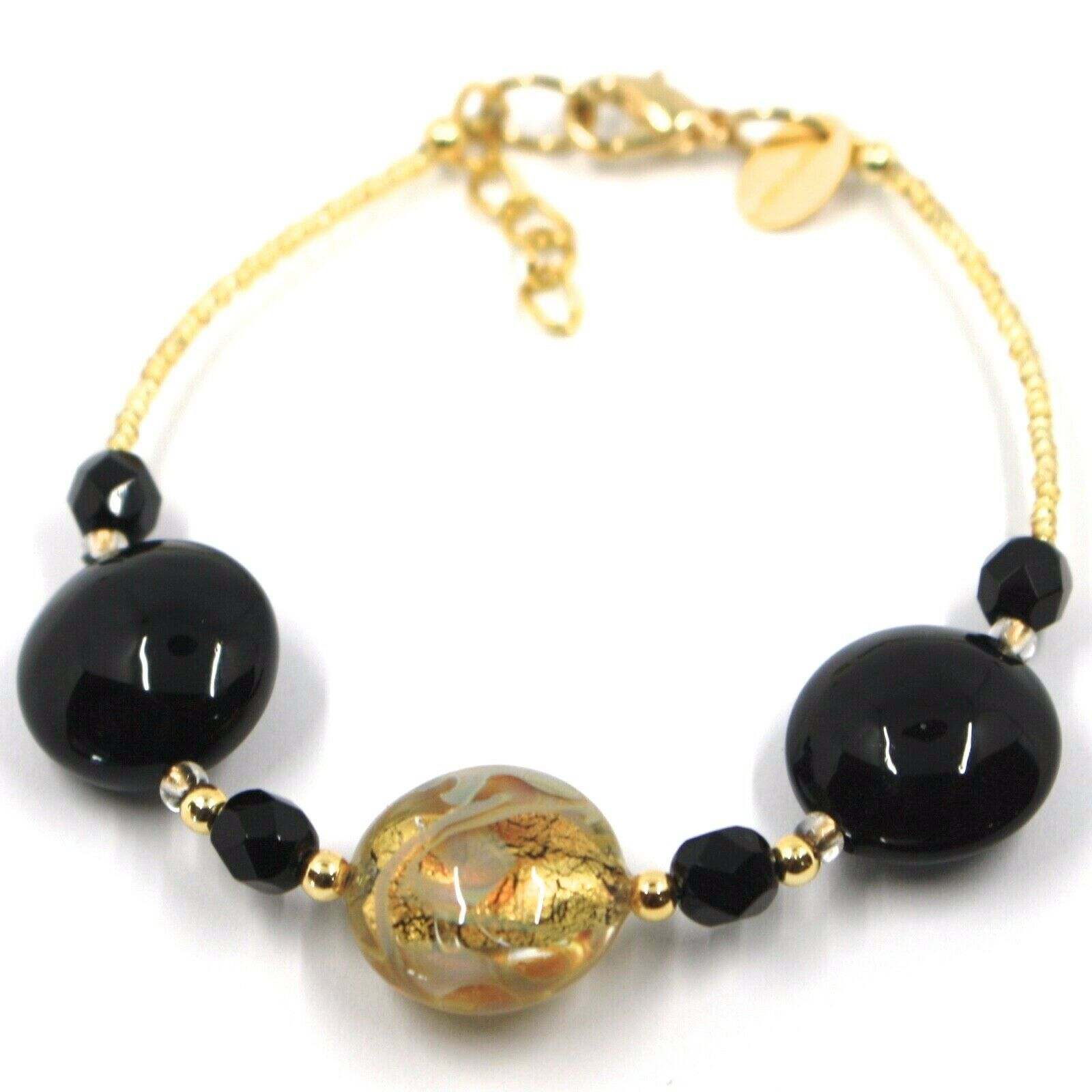 """BRACELET BLACK YELLOW MURANO DISC GLASS & GOLD LEAF, MADE IN ITALY, 19cm, 7.5"""""""