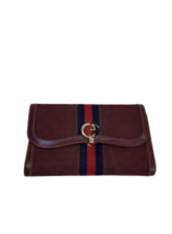 Vtg GUCCI Burgundy Canvas Leather GG Monogram Wallet Clutch Made in Italy image 5