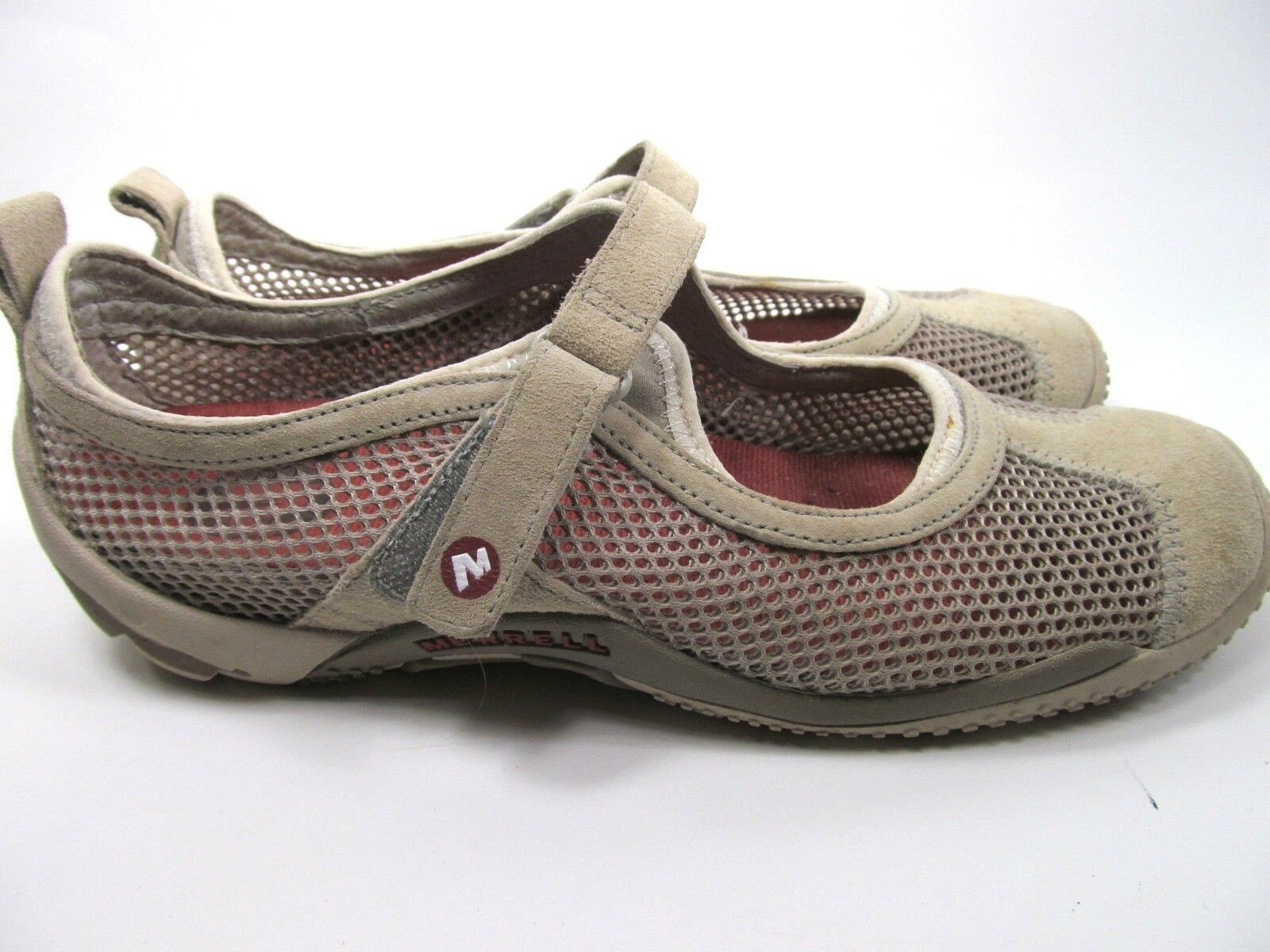Merrell Taupe Womens Mesh Shoes Size 7.5 M Grey Suede Mary Jane Shoes image 2