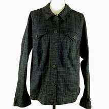 Style & Co Womens Jacket Black Gray Plaid Size 16W Button Up Trucker Str... - $29.69