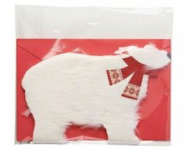 American Greetings Polar Bear Christmas Card with Fur - $9.49