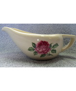 WHITE PORCELAIN GRAVY BOAT w/ PINK ROSE ACCENT VERY NICE VINTAGE Fast Sh... - $14.99