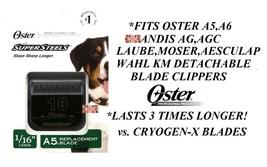Oster Super Steel(Like Titanium)10 Blade Fit A5,A6,Andis Agc,Wahl Km Clippers - $30.22