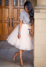 New beige luxurious 6 layers tulle women skirt tutu midi knee length ful... - $48.00