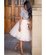 New beige luxurious 6 layers tulle women skirt tutu midi knee length ful... - $48.00