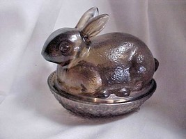 Imperial Glass Brown Glass Bunny Candy Box Container - $28.00