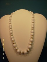 Vintage Liz Claiborne Long Strand Necklace White Acrylic Beads Gold Accent Beads - $14.85