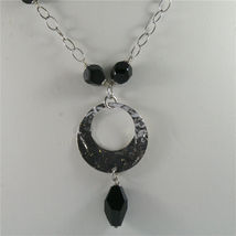 .925 SILVER RHODIUM NECKLACE, 16,54 In, HAMMERED DISC PENDANT, BLACK ONYX. image 5