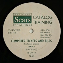 """SEARS CATALOG TRAINING RECORD ~ COMPUTER TICKETS ~ VG+ 10"""" ~ Sales Pitch... - £29.40 GBP"""