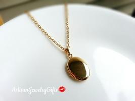 Tiny Oval Gold Locket Tiny Oval Locket Minimalist Necklace Tiny Locket N... - $32.00+