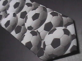 Ralph Marlin Neck Tie Just Balls Soccer 1995 Monotones of White Black an... - $10.99