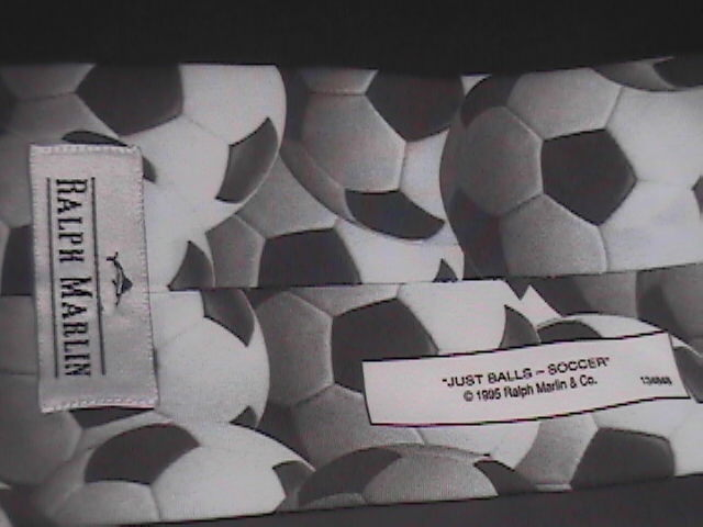 Ralph Marlin Neck Tie Just Balls Soccer 1995 Monotones of White Black and Greys
