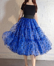 Royal Blue Polka Dot Tutu Skirt A-line Layered Puffy Midi Organza Tutu Skirt  image 2