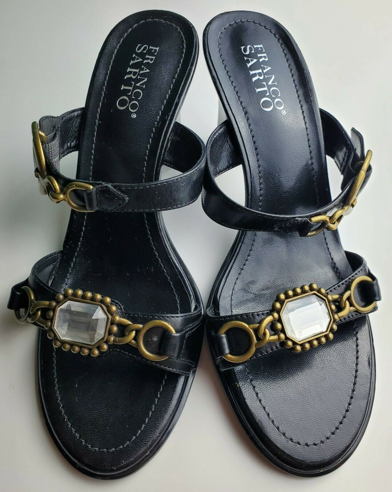 Franco Sarto Black Two Strap Women's Heels With Jewel Size 8.5 image 3