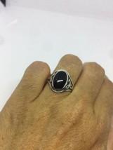 Vintage Filigree Celtic Genuine Black Onyx 925 Sterling Silver Size 6 Ring - $64.35