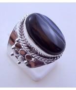Botswana Agate Silver Overlay Handmade Ring Size-9 JH-12-20 - $4.98