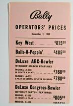 Bally Operators Prices List Arcade Game Bingo Pinball Dec 1, 1956 Balls ... - $13.37