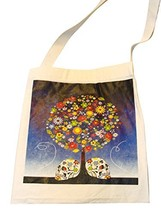 "Canvas Silk Screened Sugar Skulls Day of the Dead Tote Bag Style 8 14"" x... - $9.85"