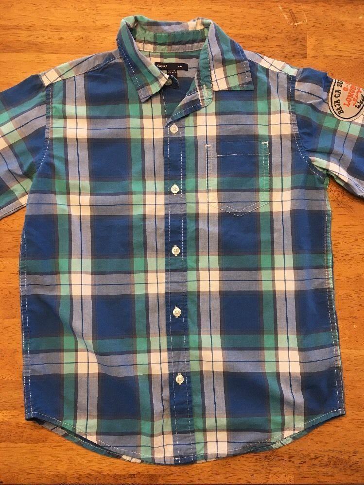 Gap Kids Boy's Blue, Green & White Plaid Short Sleeve Dress Shirt - Size: Medium image 2