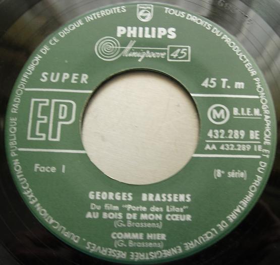 """Georges Brassens - du film """"Porte Des Lilas"""" - Philips 432.289 BE - 7"""" EP"""