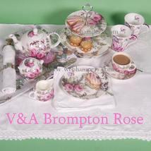 VICTORIA & ALBERT MUSEUM LONDON BROMPTON ROSE 11 PC TEA SET FINE BONE CH... - $649.90