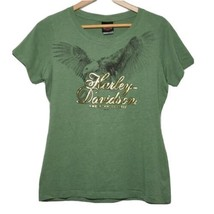 Harley Davidson Womens Large T Shirt Foiled Graphics Eagle Green Nags He... - $16.68