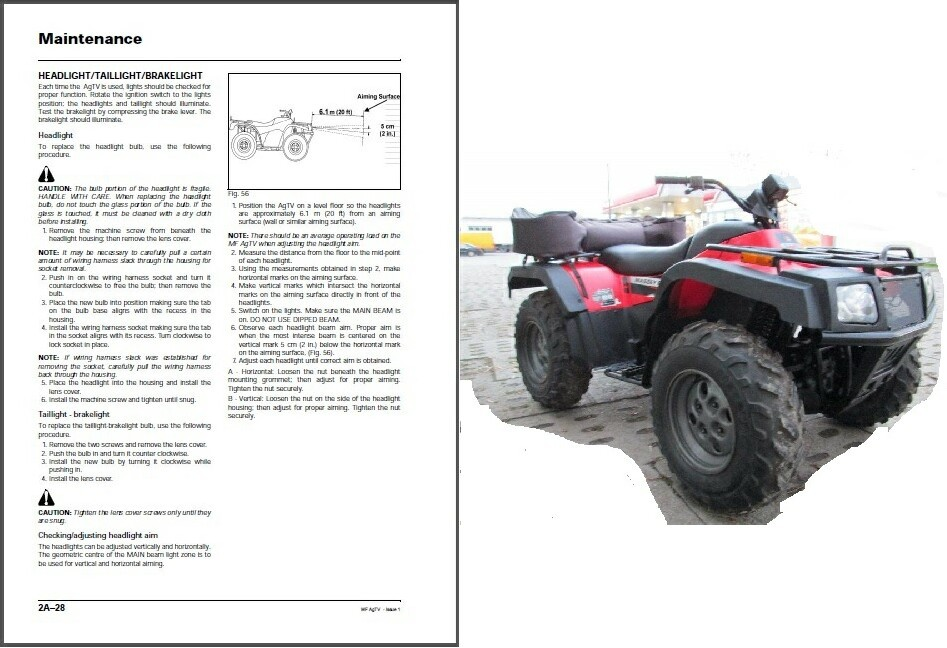 2001 massey ferguson mf atv 250 300 400 500 service manual