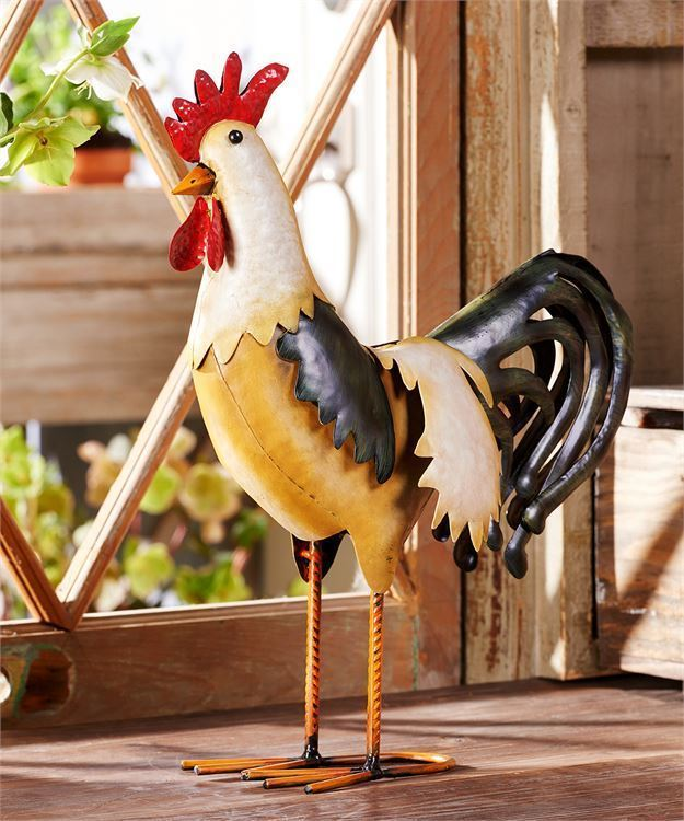 "15.8"" Iron Standing Rooster Design Statuary"